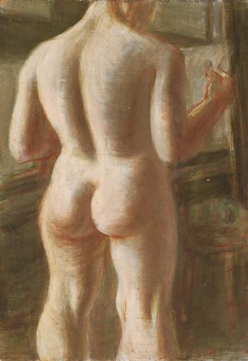 Karl HUBBUCH - Painting - Weiblicher, lesender Akt