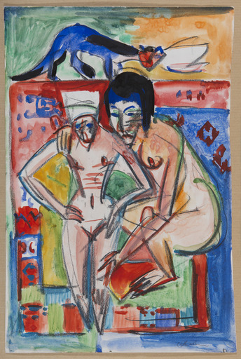 Ernst Ludwig KIRCHNER - Drawing-Watercolor - Nackte Frau und Mädchen (wohl Anna Müller)