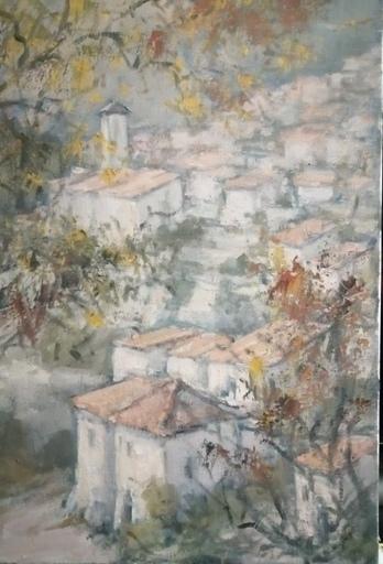 Edmond Amédée MELOT - Painting - Village en Provence