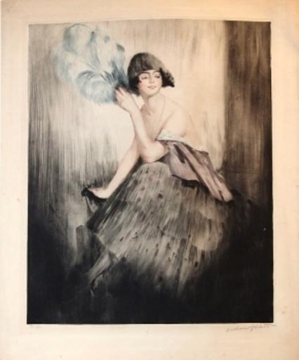 William Albert ABLETT - Estampe-Multiple - Junge Frau mit blauem Feder-Fächer