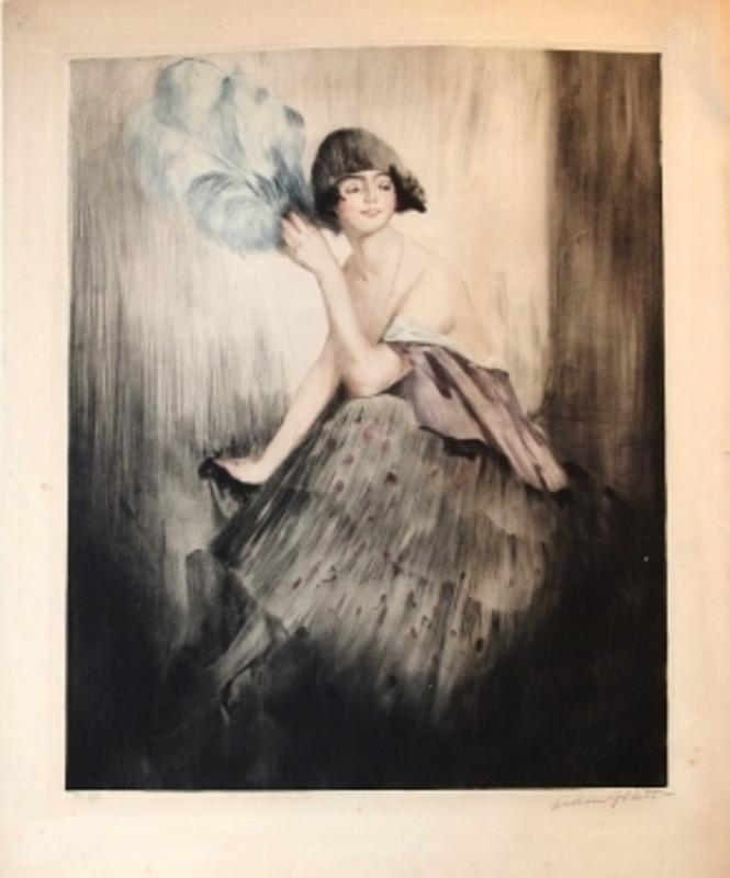 William Albert ABLETT - Stampa-Multiplo - Junge Frau mit blauem Feder-Fächer