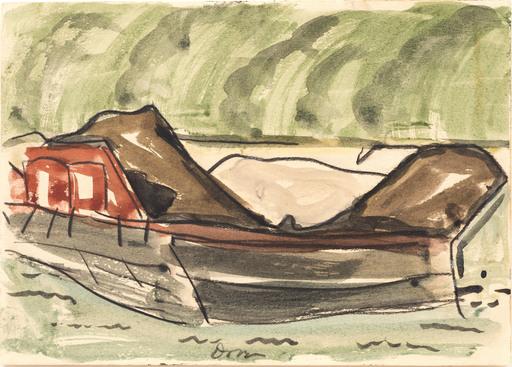 Arthur Garfield DOVE - Dessin-Aquarelle - Red Barge II