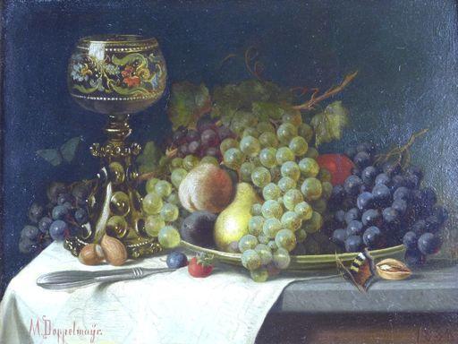 Moritz DOPPELMAYER - Peinture - Stillleben, Früchte mit Glaskelch