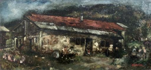 Isaac ANTCHER - Peinture - Discussion dans la cour
