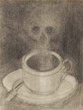 Alphonse LEGROS - Dibujo Acuarela - Vanity - Coffee cup with steam in the shape of a skull