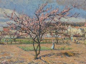 Emilio BOGGIO - Painting - Le Pêcher en fleurs