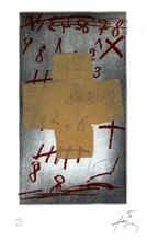"""安东尼•塔皮埃斯 - 版画 - """"Croix sur chiffres"""""""