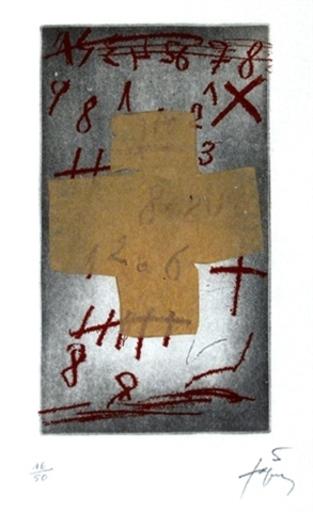 """Antoni TAPIES - Print-Multiple - """"Croix sur chiffres"""""""