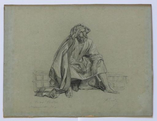 """Jules BRETON - Disegno Acquarello - """"Portrait de gr. Pere Breton"""""""