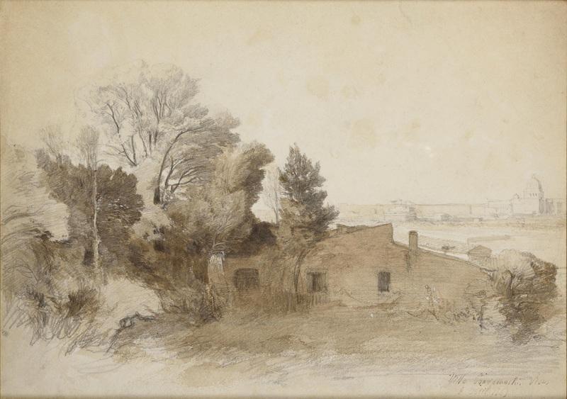 Félix ZIEM - Drawing-Watercolor - Villa à Rome