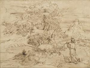 Annibale CARRACCI - Drawing-Watercolor - Paysage avec un arbre, un berger et son troupeau