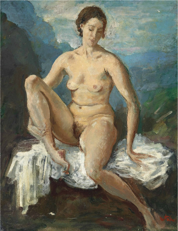 Augustus Edwin JOHN - Pintura - Seated nude on a white cloth