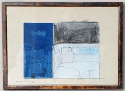 Cesare TACCHI - Drawing-Watercolor - Paesaggio col Blu e col Bianco
