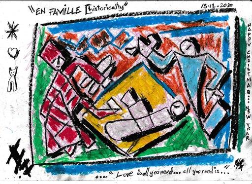 Harry BARTLETT FENNEY - Drawing-Watercolor - seasons greetings #7 (2020) en famille  historically