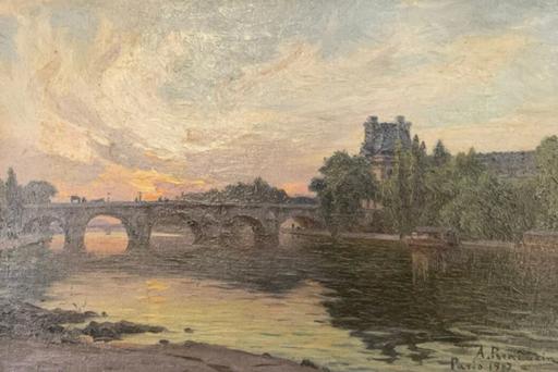 Alfred RENAUDIN - Gemälde - Paris: Palais du Louvre/ Pont Royal