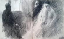 Arthur MARKOWICZ - Dibujo Acuarela - Rabbis