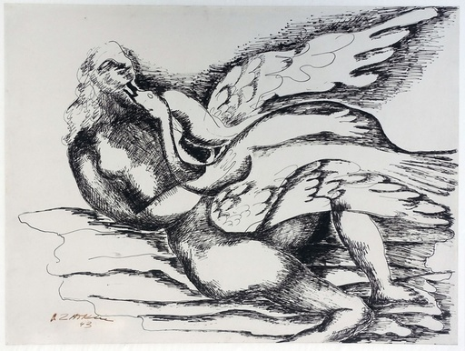 Ossip ZADKINE - Dibujo Acuarela - Leda and the swan