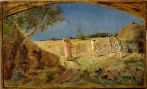 """Ernest Joseph LAURENT - Pintura - ETUDE POUR FRESQUE""""LES MOISSONS"""""""