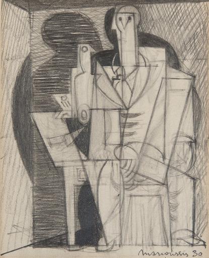 Louis MARCOUSSIS - Drawing-Watercolor - Portrait cubiste