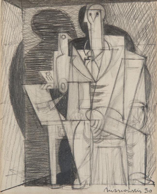 Louis MARCOUSSIS - Disegno Acquarello - Portrait cubiste