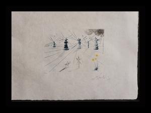 Salvador DALI - Grabado - Don Quichotte et les Moulins a vent
