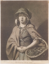 "John Raphael SMITH - Dibujo Acuarela - ""The Watercress Girl"", Mezzotint after J. Zoffany"