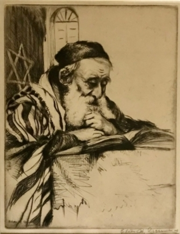 Elias GROSSMAN - Print-Multiple - Rabbi Studying - Artist Proof