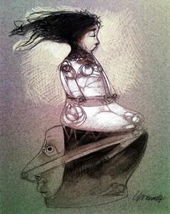 Pedro Pablo RODRIGUEZ OLIVA - Disegno Acquarello - Muchacha y Cabeza (Girl and Head)
