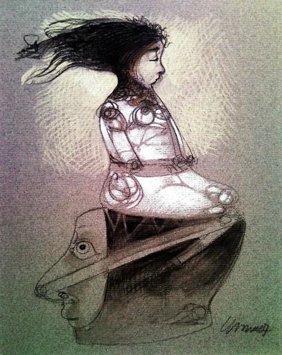 Pedro Pablo OLIVA - Drawing-Watercolor - Muchacha y Cabeza (Girl and Head)