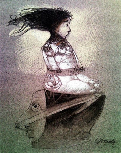 Pedro Pablo RODRIGUEZ OLIVA - Dibujo Acuarela - Muchacha y Cabeza (Girl and Head)