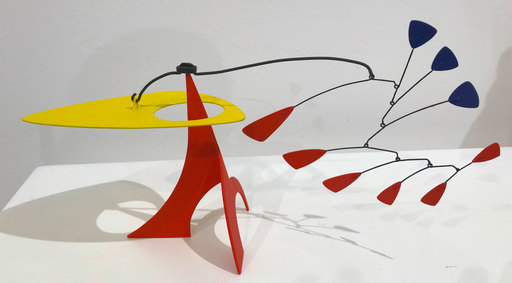 """Manuel MARÍN - Sculpture-Volume - Mini-Stabile """"Yellow Headed Bird with Red-Blue Feathers"""""""