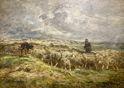 Charles Emile JACQUE - Painting - Sheep Herder on Coast in Rainstorm