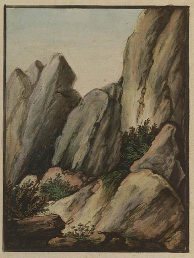 Alexander Johann DALLINGER VON DALLING - 绘画 - Rocky Alpine Landscape, Gouache, 1820s