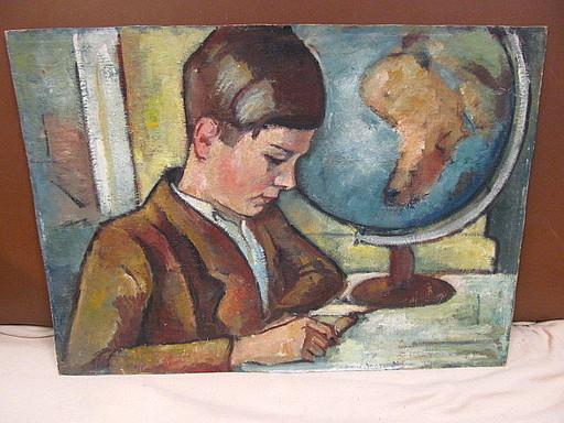Walter KOHLHOFF - Pittura - Schuljunge mit großem Globus