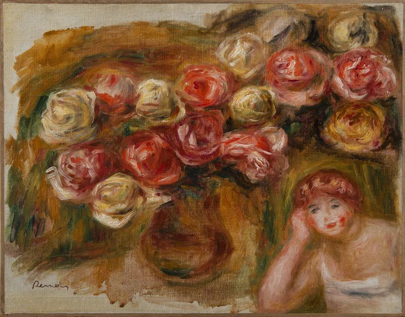 Pierre-Auguste RENOIR - Peinture - Etude de femme et de fleurs