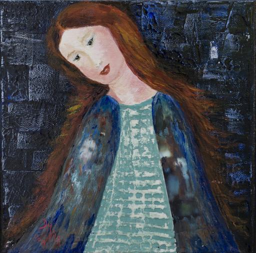 Danielle MAILLET-VILA - Painting - Vierge au manteau bleu