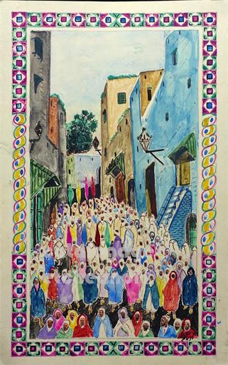 Mohamed BEN ALI R'BATI - Dibujo Acuarela - PROCESSION AU MAROC