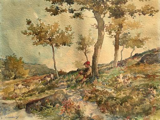 Léon CAUVY - Drawing-Watercolor