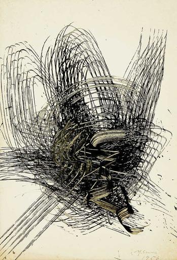 鷲見康夫 - 水彩作品 - Early Gutai Work Sketch 07