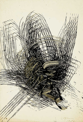 Yasuo SUMI - Dessin-Aquarelle - Early Gutai Work Sketch 07
