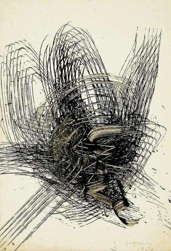 Yasuo SUMI - Disegno Acquarello - Early Gutai Work Sketch 07