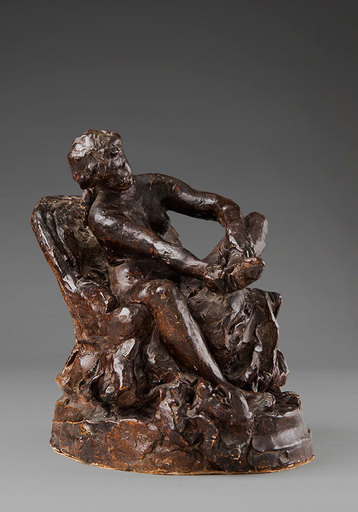 Aimé-Jules DALOU - Scultura Volume - « Femme assise dans un fauteuil, retirant son bas »