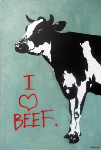 BLEK LE RAT - Pittura - I LOVE BEEF