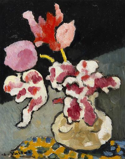 Louis VALTAT - Peinture - Vase de fleurs sur une table