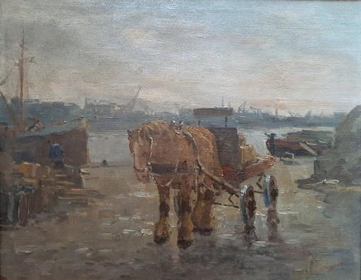 Bernardus Cornelis NOLTEE - 绘画 - Pferd mit Wagen am Hafen (Rotterdam ?)
