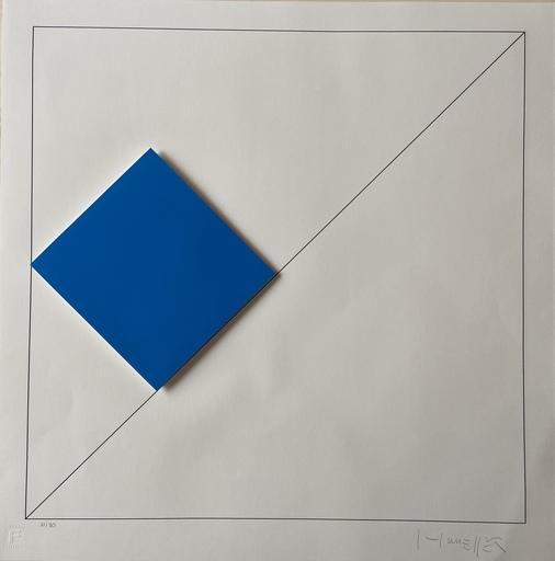 Gottfried HONEGGER - Estampe-Multiple - Composition 1 carré 3D (bleu foncé)