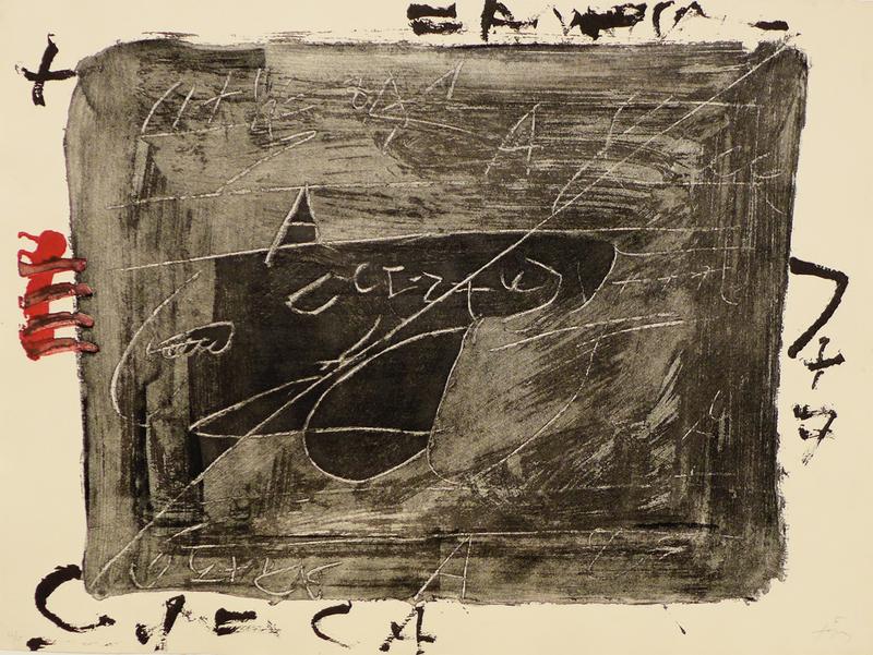 Antoni TAPIES - Estampe-Multiple - Esgrafiats sobre negre
