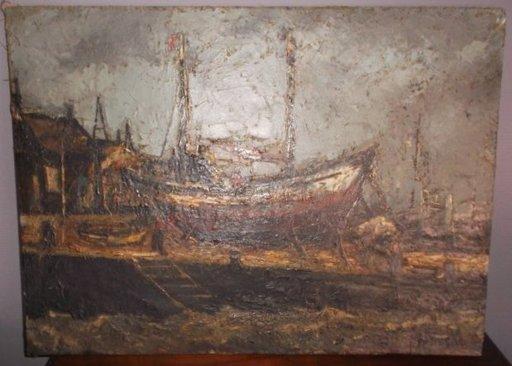 Paul PERMEKE - Peinture - Boten op de kade