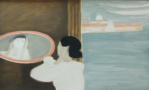 André BRASILIER - Pintura - Le miroir Vénitien
