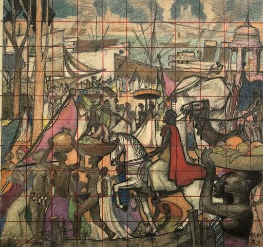 """Raymond DIERICKX - Drawing-Watercolor - """"ETUDE POUR LE CORTEGE DES ROIS MAGES"""""""